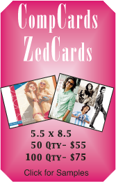 Comp cards, zedcards, compcards and zed cards